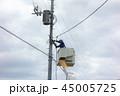 電柱 作業員 復旧作業の写真 45005725