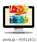 Computer Screen with Creative Six Step Infographic 45011611