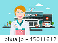 Hospital Vector Building with Doctor, Ambulance 45011612