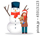クリスマス クマのぬいぐるみ テディベアのイラスト 45013123