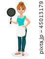 女性 フライパン 料理のイラスト 45013179