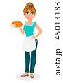 女性 クロワッサン 食のイラスト 45013183