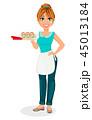 女性 すし 食のイラスト 45013184