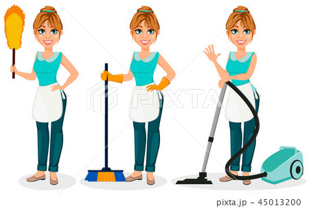 Happy housewife. Cheerful mother 45013200