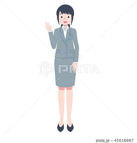 右手をあげる女性会社員 45016667