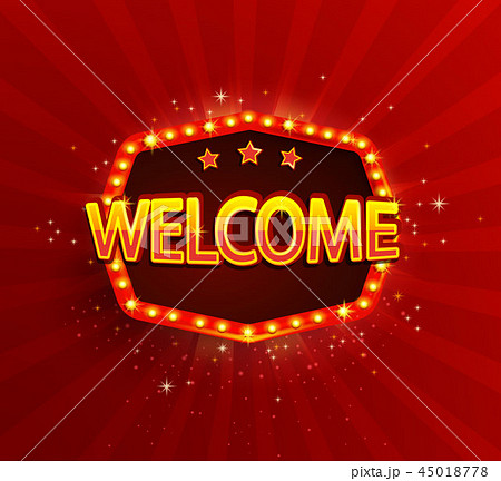 Welcome - shining retro light frame. 45018778