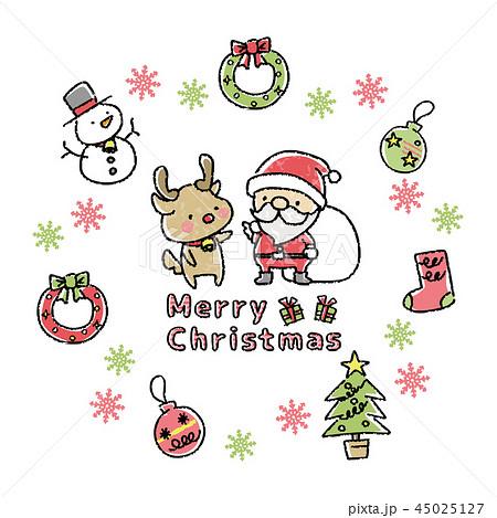 クリスマス イラスト 手描き風のイラスト素材 45025127 Pixta