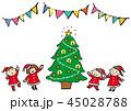 クリスマスツリーと子供たち 45028788