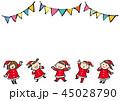 サンタの服着た子供たち 45028790