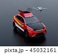 黒バックに災害救助SUVから離着陸している捜索ドローンのコンセプトイメージ 45032161