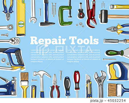 Repair tools banner in hand drawn style 45032254