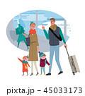 旅行する家族 空港 イラスト 45033173