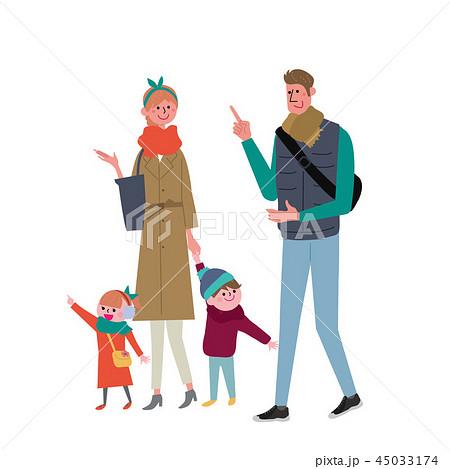 冬服の家族 イラスト ジャケット コート 45033174