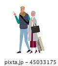 旅行をする シニア 夫婦 イラスト 45033175