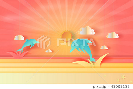 illustration of seascape view jumping dolphin  45035155