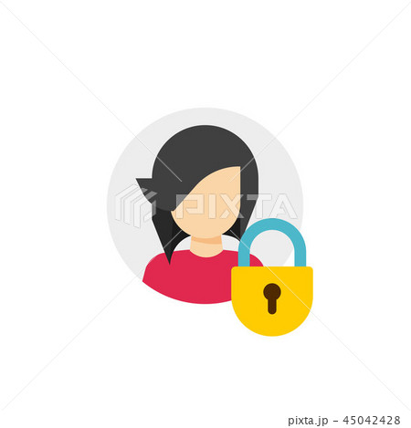Personal account private protection or locked vector icon, flat cartoon person profile protected via 45042428