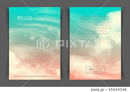 two sided vertical flyer of a4 format with realistic pink blue skyの