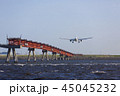 飛行機 着陸 旅客機の写真 45045232