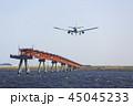 着陸する飛行機 45045233