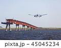 飛行機 着陸 旅客機の写真 45045234