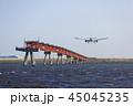着陸する飛行機 45045235