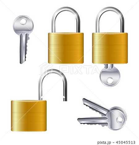 Realistic Set Of Identical Gold Padlocks 45045513