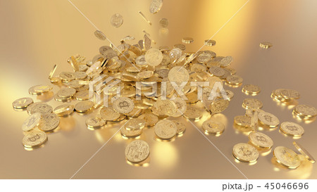 3D rendering Bitcoins falling on a pile 45046696