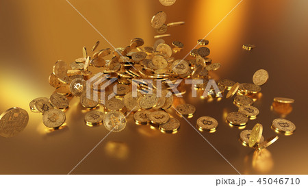 3D rendering Bitcoins falling on a pile 45046710