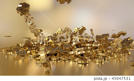 3d rendering of falling signs of dollars 45047531