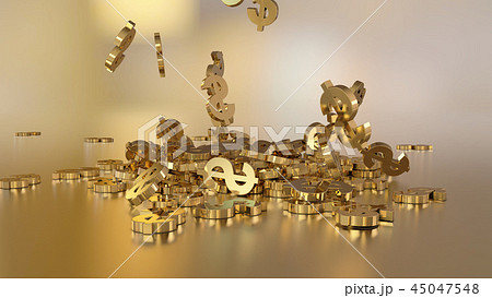 3d rendering of falling signs of dollars 45047548