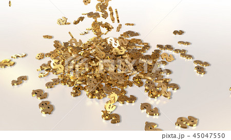 3d rendering of falling signs of dollars 45047550