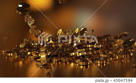 3d rendering of falling signs of dollars 45047594