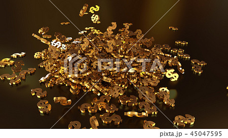 3d rendering of falling signs of dollars 45047595