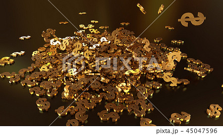 3d rendering of falling signs of dollars 45047596