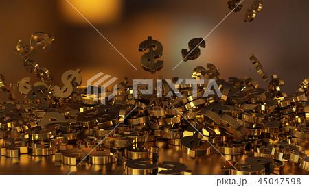 3d rendering of falling signs of dollars 45047598