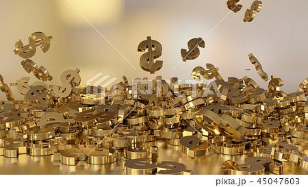 3d rendering of falling signs of dollars 45047603