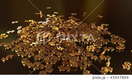 3d rendering of falling signs of dollars 45047604