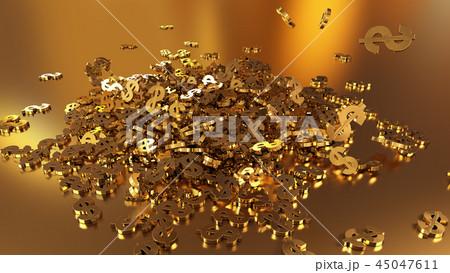 3d rendering of falling signs of dollars 45047611