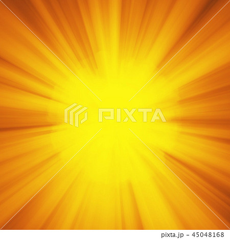 Background with abstract explosion or hyperspeed warp sun God rays. Bright orange yellow light strip 45048168