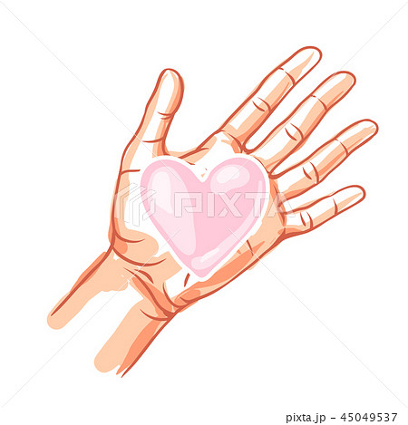 One hand hold heart. 45049537