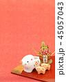 亥年 年賀素材〜イノシシの親子と門松 45057043