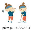 ゴルフをする女性 45057934