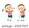 ゴルフをする女性 45057937
