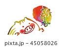 年賀状 猪 亥年のイラスト 45058026