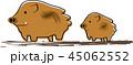 イノシシ 年賀状素材 45062552