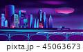 夜 ネオン 都市景観のイラスト 45063673