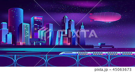 Vector background with night city in neon lights 45063673