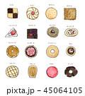 お菓子 白バック 洋菓子のイラスト 45064105