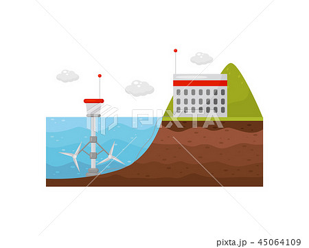 Tidal power station. Energy production obtained from tides. Tide mill in the water and the building 45064109