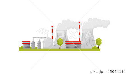 Thermal power plant with industrial buildings and smoking pipes. Electricity production. Alternative 45064114